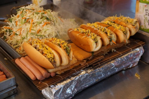 Hot Dogs with Slaw Topping